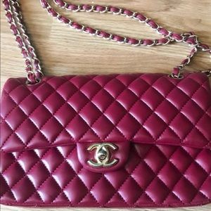 Authentic Chanel Caviar Double Flap In Red